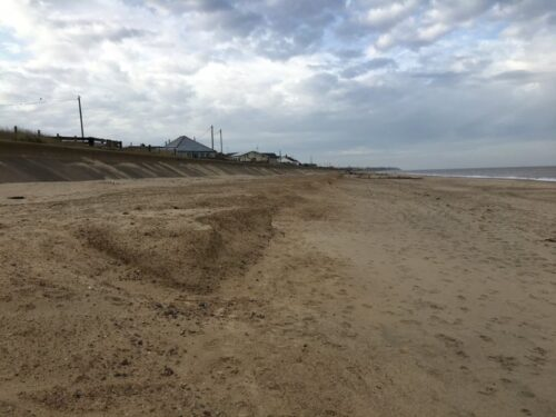 Photograph showing area of recent sandscaping near Bacton.